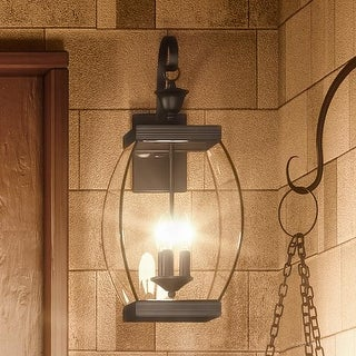 "Luxury Colonial Outdoor Wall Light, 22.5""H x 9""W, with Transitional Style, Bowed Design, Medieval Bronze Finish"