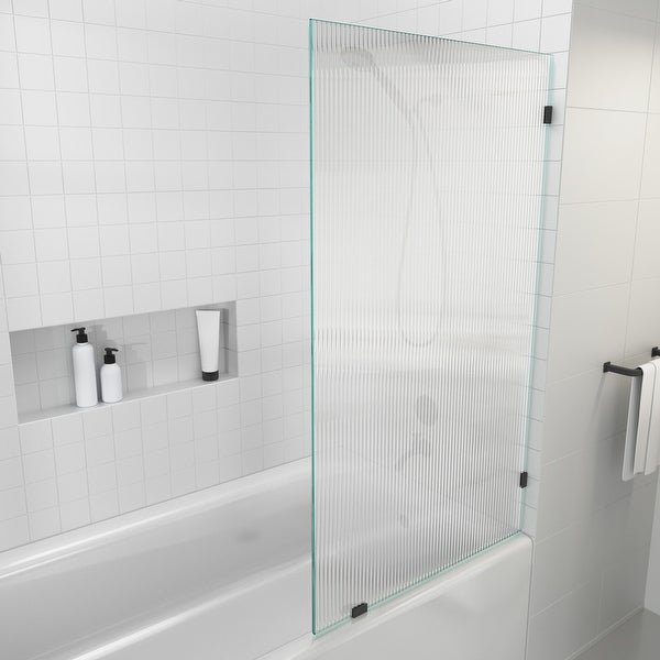 """Glass Warehouse 58.25"""" x 34"""" Frameless Shower Door - Single Fixed Bath Panel Fluted Frosted. Opens flyout."""