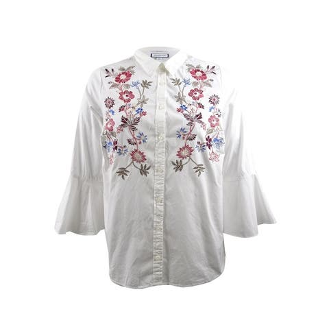 Charter Club Women's Plus Size Cotton Embroidered Shirt - Bright White
