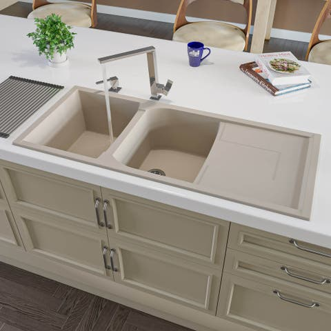 """Alfi Brand AB4620DI-B Biscuit 46"""" Double Bowl Granite Composite Kitchen Sink with Drainboard"""