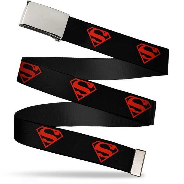 Blank Chrome Buckle Superboy Shield Black Red Webbing Web Belt