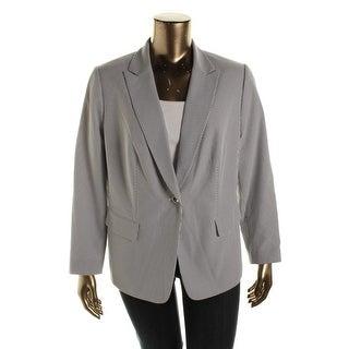 Tahari Womens Plus Pauly Seersucker Peak Collar One-Button Blazer - 14W