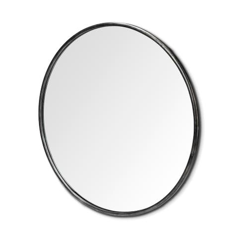 "Mercana Piper 47"" Round Black Metal Frame Mirror - 47.2"" x 47.2"""