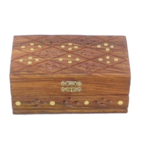 Tribal Hand Carved Chaplin Wooden Brass inlay Jewelry Box - 7 in. x 4 in. x 3 in.