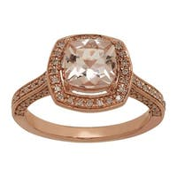 1 1/2 Natural Morganite & 1/4 ct Diamond Ring in 14K Rose Gold - Pink