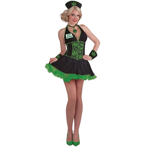 185cde836cb78 Shop Leafy Head Nurse Costume, Weed Halloween Costume - as shown - Free  Shipping On Orders Over $45 - Overstock - 17826639
