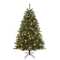 6' Pre-Lit Artificial Pine Christmas Tree with Warm White Led Lights - green