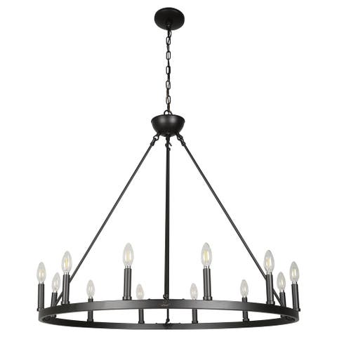 Rustic Wood-Patterned Light Drum Chandelier To Set The Right Ambiance And Mood