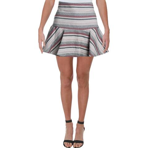 Bardot Womens A-Line Skirt Stripe Flounce - Red/Navy