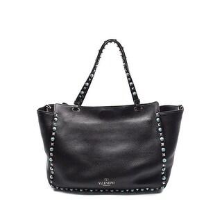 Valentino Rockstud Rolling Black/Turqouise Medium Tote Bag