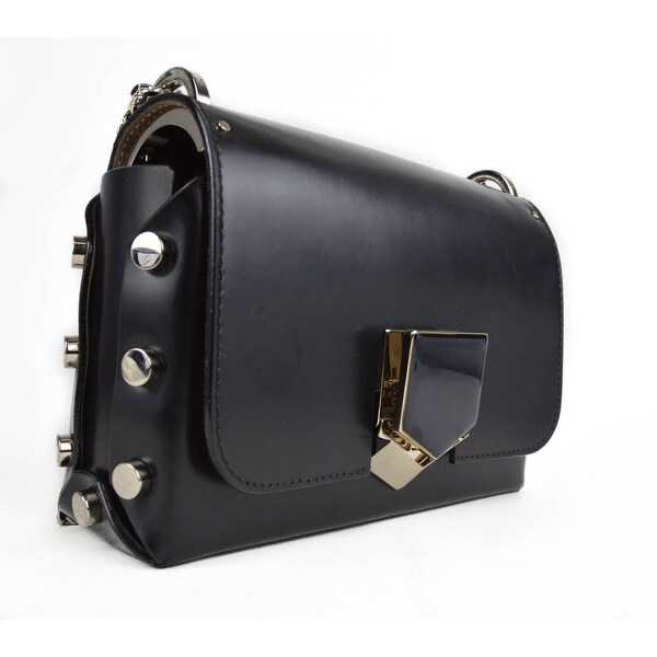 212fa210c9 Jimmy Choo Lockett Petite Black Chrome Spazzolato Leather Shoulder Bag