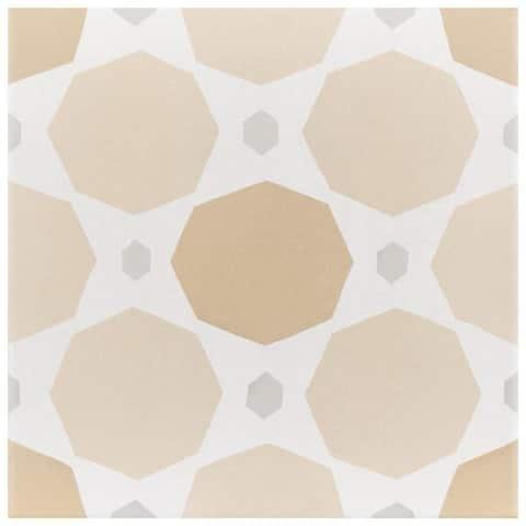 SomerTile 7.875x7.875-inch Piccola Pastel Topaz Porcelain Floor and Wall Tile (25 tiles/11.46 sqft.)
