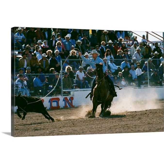 Cowboy Roping Calf At Rodeo Canvas Wall Art Overstock 16471697