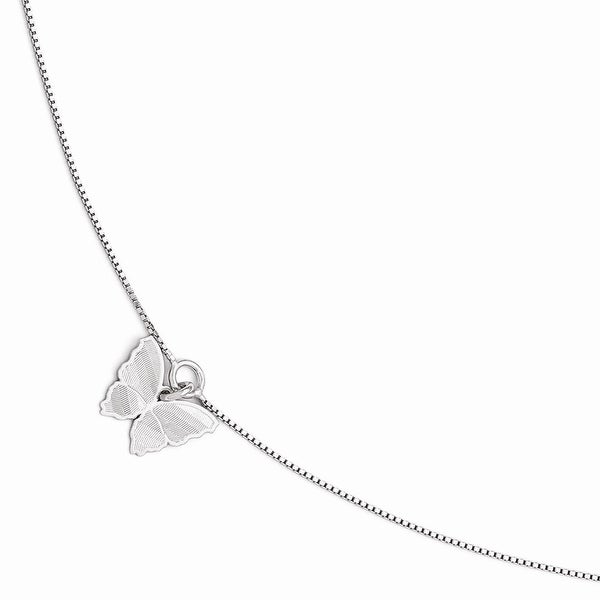 Italian Sterling Silver Polished & Textured Butterfly Anklet with 1in ext - 9 inches
