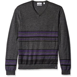 Calvin Klein NEW Gray Mens Size Large L Striped V-Neck Wool Knit Sweater