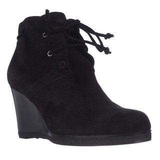 Via Spiga Mirren Wedge Lace-Up Ankle Boots - Black Suede