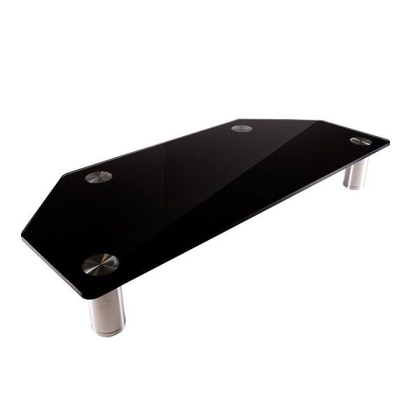 Monoprice Corner Multimedia Stand & Riser, Laptop,Monitor,TV-Black Glass