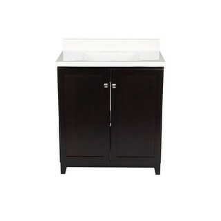 "Design House 612770 31"" Freestanding Vanity Cabinet with Marble Vanity Top - Espresso"