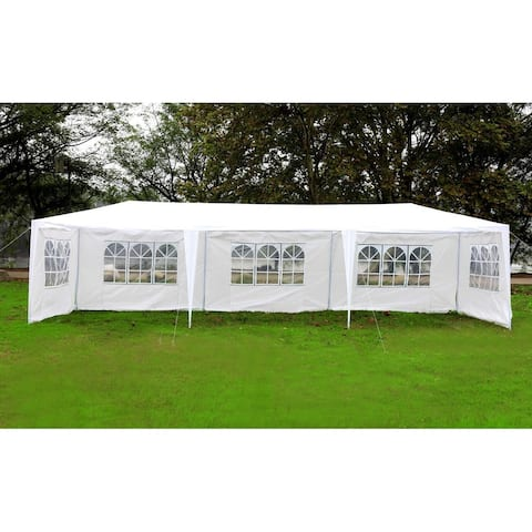 Mcombo 10'x30' Canopy White Party Tent Outdoor Gazebo Wedding Tent with Removable Walls (5 Removable Walls) White Party Canopy