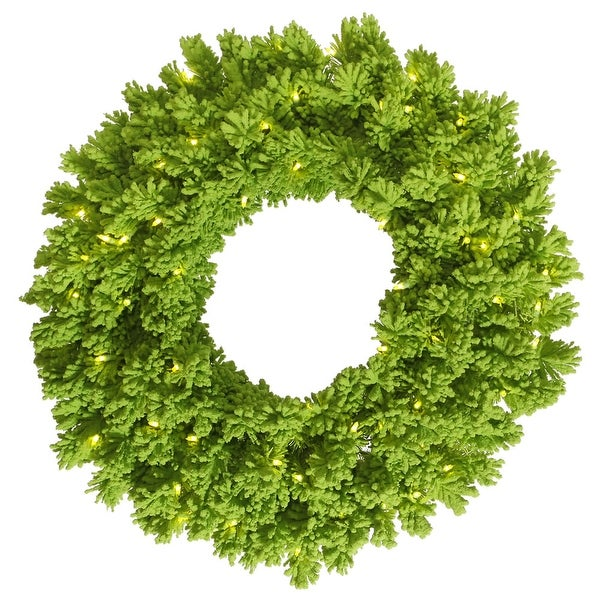 "36"" Flocked Lime Fir Wreath 100Lm 260T"