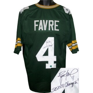 Brett Favre signed Green Custom Stitched Pro Style Football Jersey #4 SB I Champs! XL- Favre Hologram