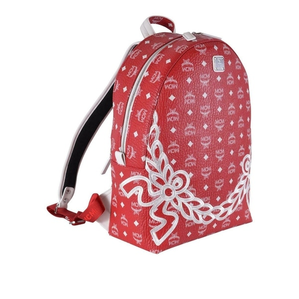 38f62c2c19f7 MCM Red White Coated Canvas Visetos Dietrich Laurel Backpack Bag - Off White
