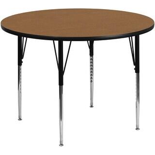 Fun & Games Activity Table 42'' Round Oak Thermal Laminate Adj Height
