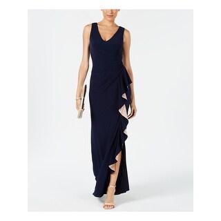 Link to BETSY & ADAM Navy Sleeveless Full Length Dress  Size 10 Similar Items in Petites