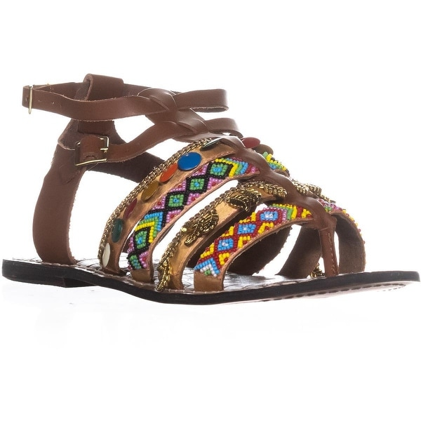 Sam Edelman Lanai Beaded Tribal Gladiator Sandals, Saddle Leather - 9 us / 39 eu