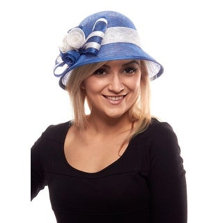 Lucky Lulu Sinamay Derby Cloche with Rosebuds and Bow
