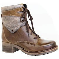 Dromedaris Women's Kara Shearling Boot Olive Leather