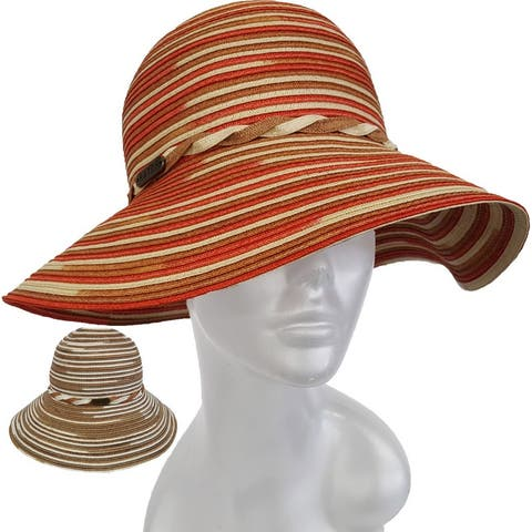 Women's Hand Sewn Straw Poly Braid Wide Brim Sun Hat