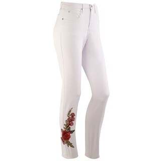 Impulse California Women's Straight Leg Jeans - Tummy Support, Rose Embroidered
