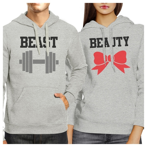 203f58a35 Shop Beast And Beauty Grey Matching Hoodies Pullover For Couples ...