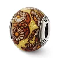 Italian Sterling Silver Reflections Yellow Floral Decorative Overlay Glass Bead (4mm Diameter Hole)