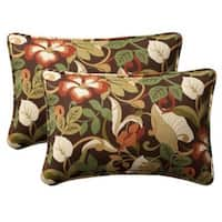 "Set of 2 Outdoor Patio Furniture Rectangular Throw Pillows 24.5"" - Floral Cafe - Multi"
