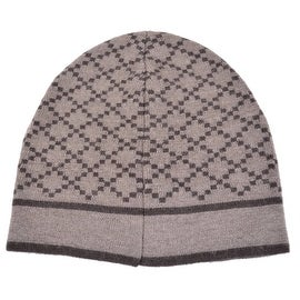 New Gucci 281600 Men's 100-percent Wool Diamante Taupe Brown Beanie Ski Winter Hat