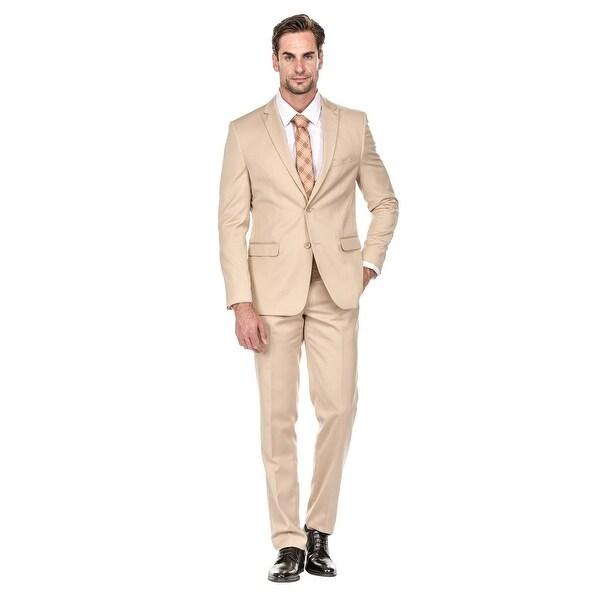 394c52ce68 Shop Porto Filo Men's Khaki 2 Piece Slim Fit Suit - Free Shipping ...