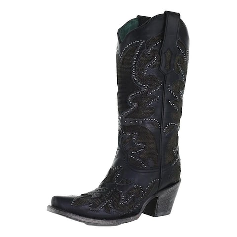 Corral Western Boot Womens Inlay Embroidery Snip Toe Black