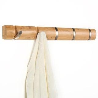 LANGRIA Folding Hook Coat Rack Hanger Wall Mounted Waterproof Bamboo - banboo
