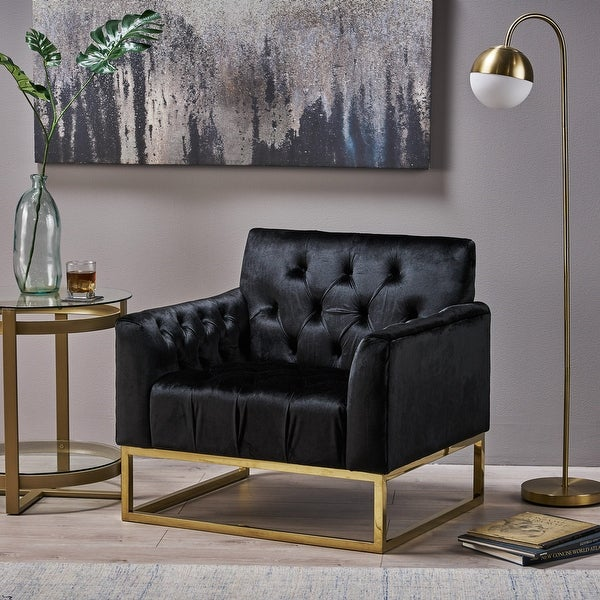Claremont Modern Velvet Arm Chair by Christopher Knight Home. Opens flyout.