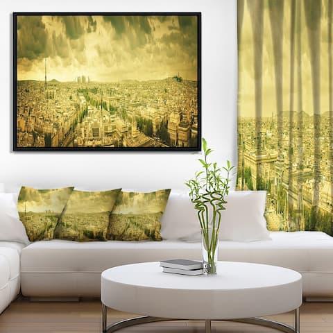 Designart 'Paris Panorama with Scenic Sky' Skyline Photography Framed Canvas Art