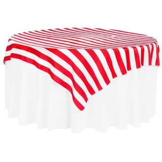 "Stripe 72""x72"" Square Satin Table Overlay Edge: Serge - Red & White"