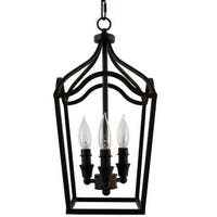 "Park Harbor PHPL5353 Textured Black 3 Light 9"" Wide Mini Foyer Pendant with Lantern Cage Style Frame - Textured Black"