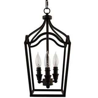 "Park Harbor PHPL5353 Textured Black 3 Light 9"" Wide Mini Foyer Pendant with Lantern Cage Style Frame"