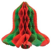 Club Pack of 24 Red and Green Honeycomb Tissue Christmas Bell Hanging Decorations 12""