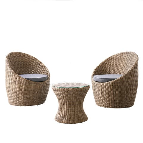 """Strafford All-Weather Wicker Outdoor Set with Two Chairs and 18""""H Cocktail Table - N/A"""