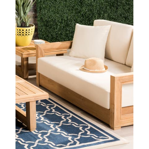 Safavieh Couture Outdoor Montford Teak Brown/ Beige 2-Seat Commercial Grade Loveseat