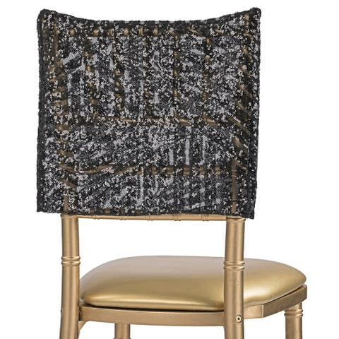 "1 Pk, Geometric Glitz Art Deco Sequin Chiavari Chair Cap 16"" X 14"" - Black"