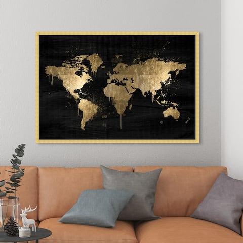 Oliver Gal 'Mapamundi Gold' Maps and Flags Wall Art Framed Print World Maps - Black, White